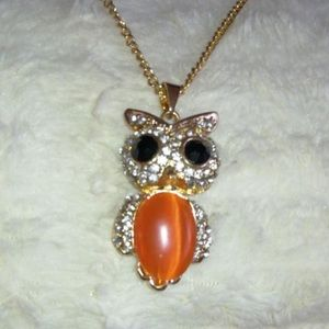 Peach Bellied Owl Rope Necklace